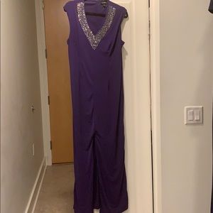 Purple maxi gown with jeweled collar